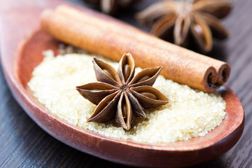 Star anise and stick of cinnamon on spoon with cane sugar