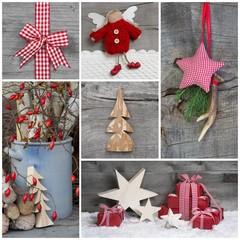 Weihnachten - Dekoration mit Holz natürlich - in Rot
