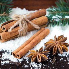 Star anise and cinnamon sticks on snow, christmas tree, winter