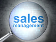 Marketing concept: Sales Management with optical glass