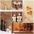 Weihnachten - Collage - als Weihnachtskarte mit Holz & Kerzen