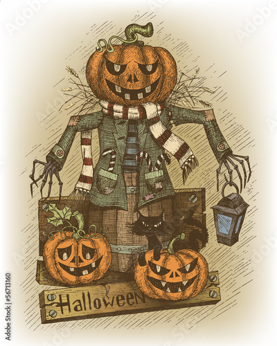 Halloween illustration drawn by hand