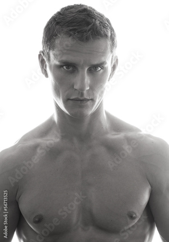 Сlose-up portrait of young male model