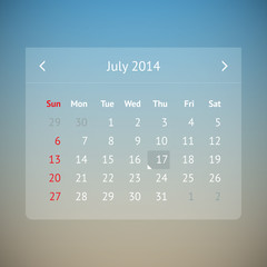 Calendar page for July 2014