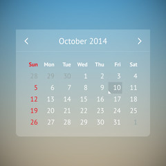 Calendar page for October 2014