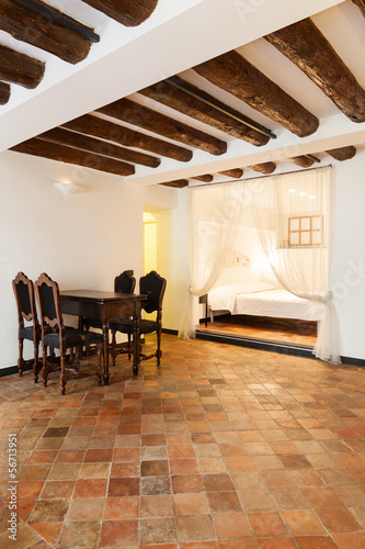 Beautiful apartment classic, interior, terracotta floor