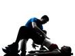 coach man woman exercising abdominals with bosu