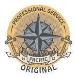 Stamp with the words Pacific Original written inside, vector