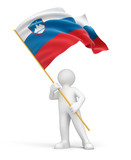 Man and Slovene flag (clipping path included)