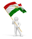 Man and Tajik flag (clipping path included)