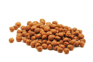 Chocolate cereals on white background