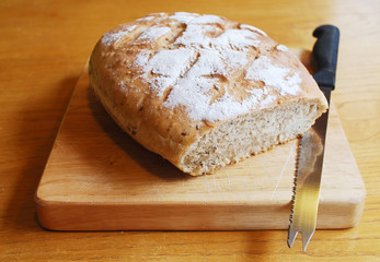 Sourdough on Chopping Board with Knife