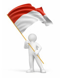 Man and Indonesian flag (clipping path included)