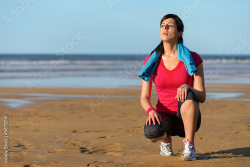 Runner sweating and taking a break