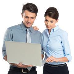 Businesspeople Working At Laptop