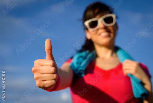 Exercising success gesture