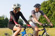 Sporty Couple On Mountan Bike