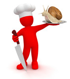 Cook with snail (clipping path included)