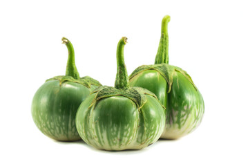 green eggplants isolated on white background