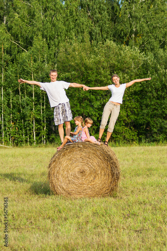 Family with children on vacation outdoors