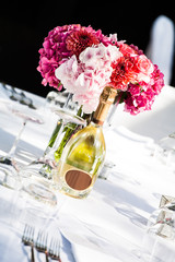 flowers and champagne
