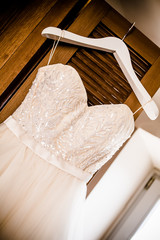 angled wedding dress