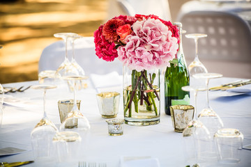 hydrangea table decor