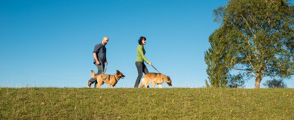 Paar geht mit seinen Hunden spazieren