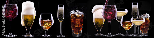 alcohol drinks set isolated on a black - 56716995