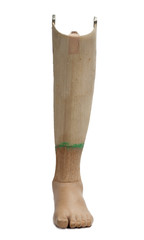 Prosthetic leg isolated on a white background.