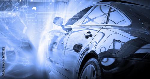 Rear view of luxury car - 56717382