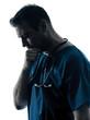 doctor man silhouette portrait thinking