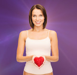 beautiful woman in cotton underwear and red heart