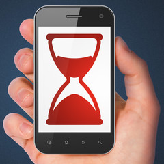 Timeline concept: Hourglass on smartphone