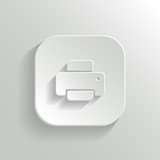 Printer icon - vector white app button