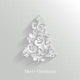 Absrtact Floral Christmas Tree Background