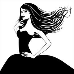 Красивая девушка, черно белая иллюстрация