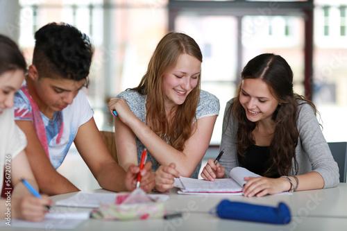 Leinwanddruck Bild Schüler beim Lernen