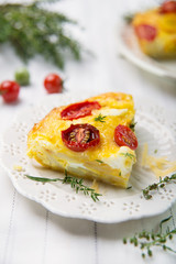 Italian frittata with cherry tomatoes