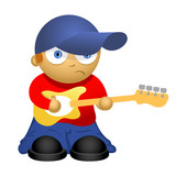 Funny cartoon bass-guitar player