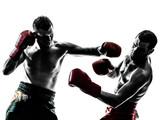 Fototapety two men exercising thai boxing silhouette