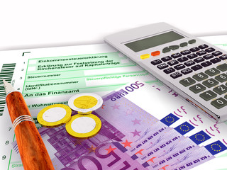 Steuerformular fünfhundert Euro