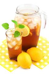 Lemon ice tea on white background.
