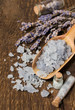 sea salt with lavender on a wood