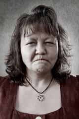 Bitterböse, zornige Frau
