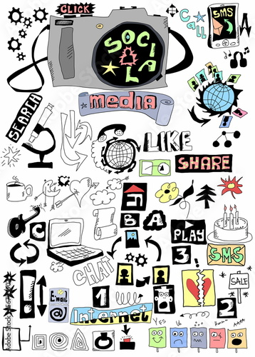 Doodle social media, Hand drawn background