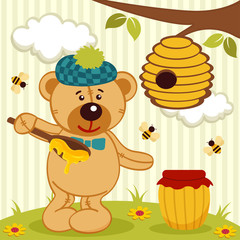teddy bear near beehive - vector illustration