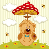 teddy bear with amanita - vector illustration