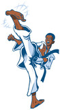 Teen Boy Martial Artist Kicking Vector Clip Art