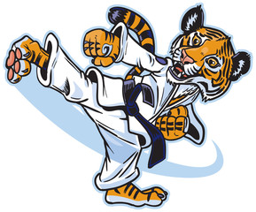 A Tiger Cub Martial Artist Kicking Vector Cartoon